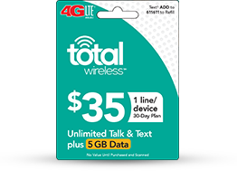 $35 Total Wireless Unlimited Talk, Text and 5GB (Single Line) - PhoneProbs