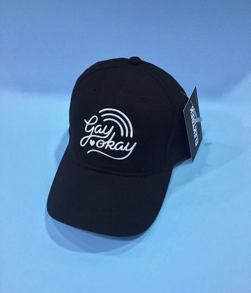 Gay Okay Dad Hat - Black
