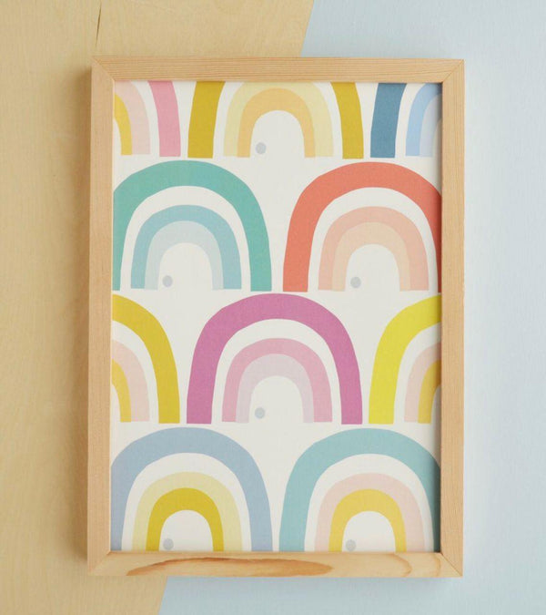 Gift - Carla Bee Framed Rainbow Houses Print