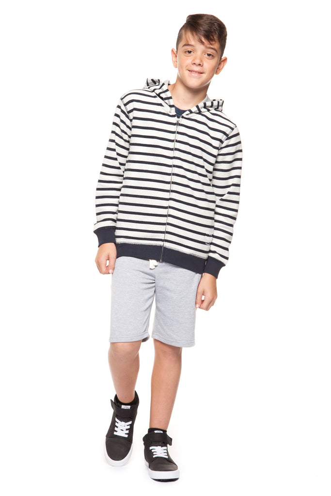 Top - Dex Boys Long Sleeve Stripe Zip Up Hoodie