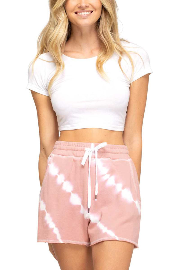 Shorts - Tie Dye Drawstring Knit Shorts