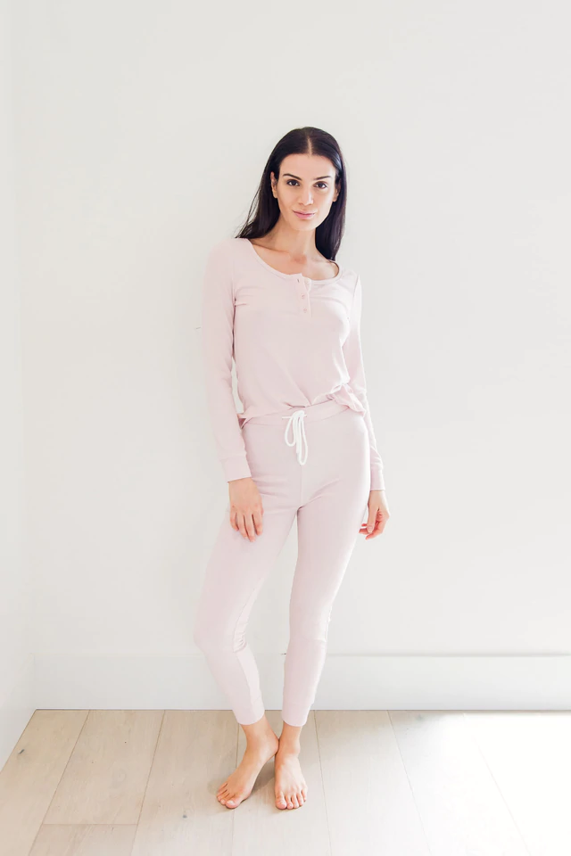 Pyjama - Privilege Sundays Ribbed Henley Sleep Set
