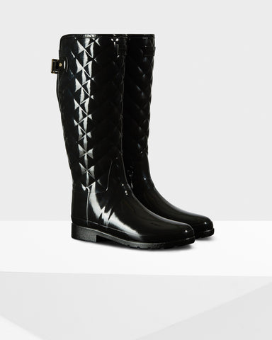 Footwear - Hunter Original Refined Quilted Gloss Rain Boots