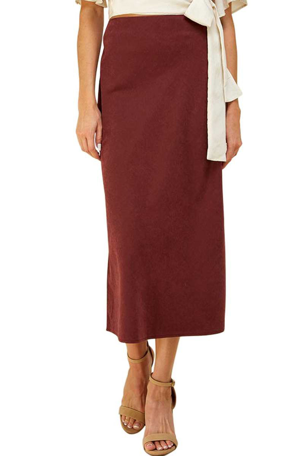 Skirt - Solid Side Zip Midi Skirt