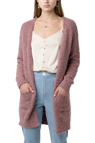 Top - Popcorn Eyelash Open Front Long Line Cardigan