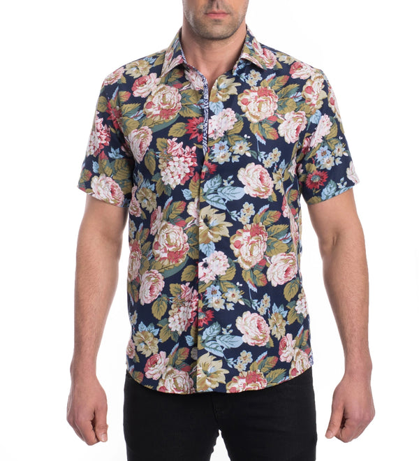 Top - Short Sleeve Floral Button Down Shirt