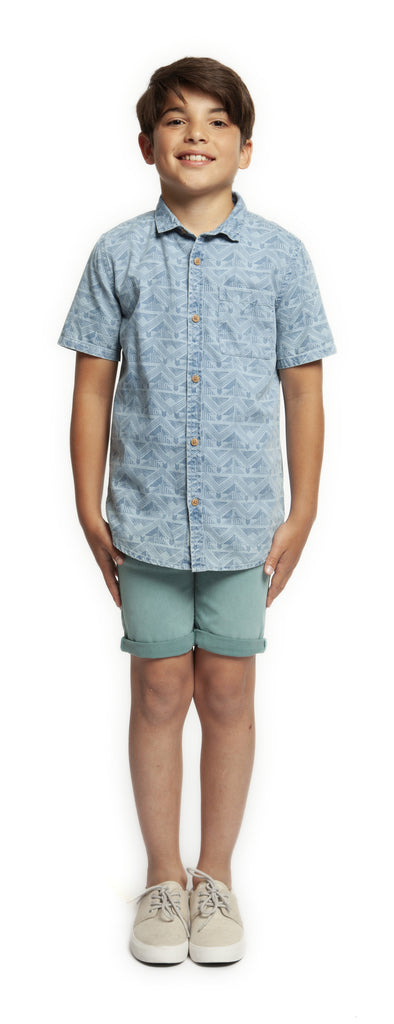 Top - Dex Kids Short Sleeve Aztek Button Front Shirt