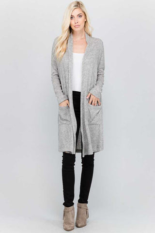 Top - Front Pocket Long Body Cardigan