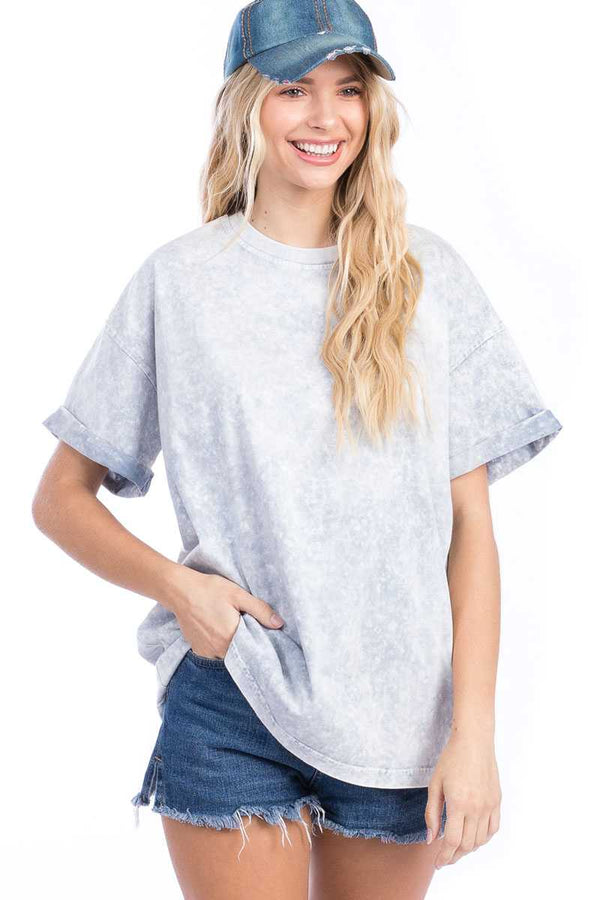 Top - Minieral Washed Roll Up Short Sleeve Top