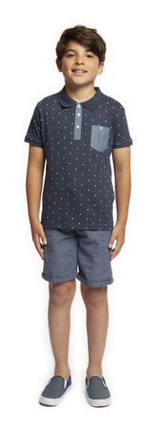 Top - Dex Kids Boat Print Short Sleeve Polo Top
