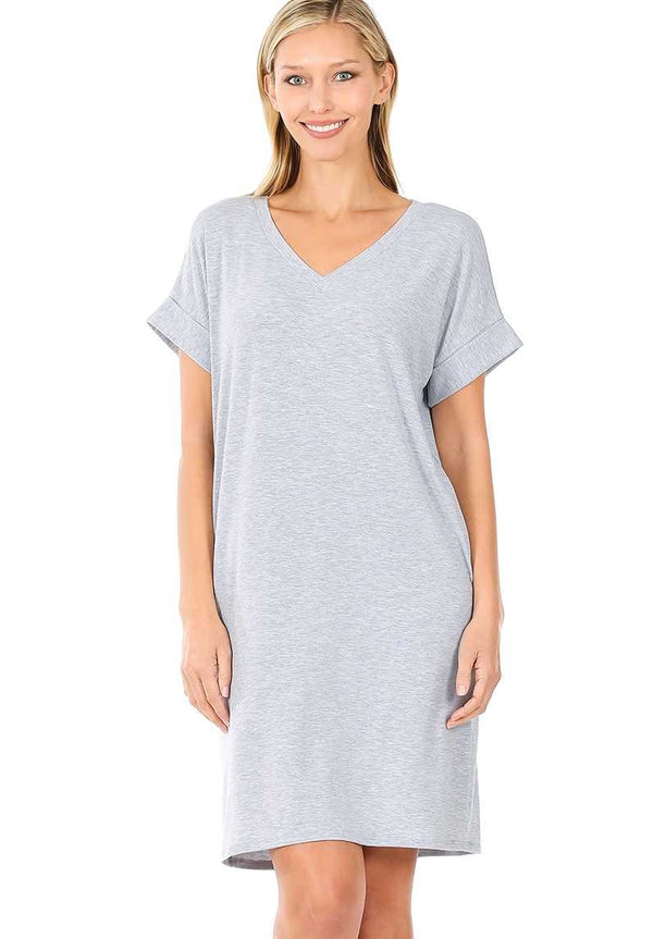Dress - Solid Roll Up Sleeve V-Neck Dress