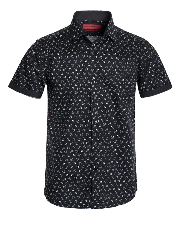 Top - Short Sleeve Patterned Button Down Shirt