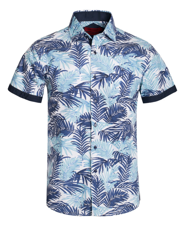 Top - Short Sleeve Tropical Button Down Shirt