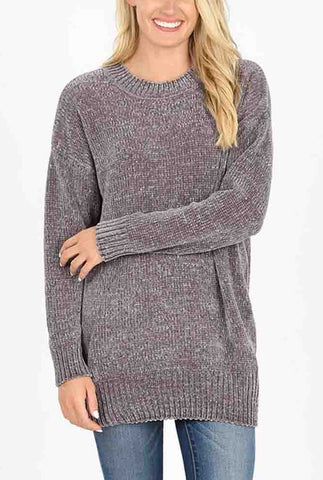 Top - Round Neck Long Sleeve Chenille Sweater
