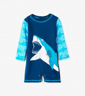 Swimsuit - Hatley Kids Mini Shark Alley One Piece Rashguard