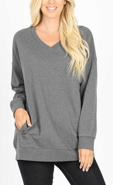 Top - Long Sleeve V-Neck Side Pockets Sweatshirt