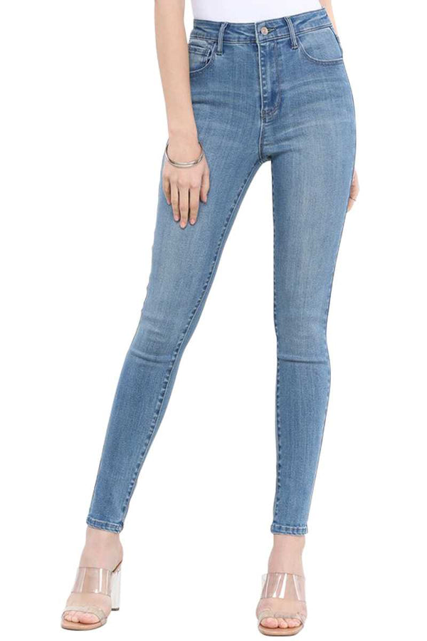Pants - High Waist 5 Pocket Denim Skinny Jeans