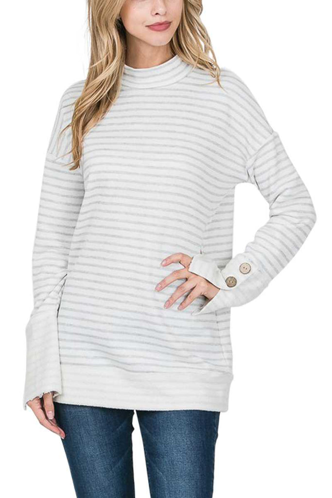 Top - Striped Mock Neck Long Sleeve Button Detail Top