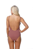 Swimsuit - Ribbed Snap Closures At Bust One Piece Swimsuit