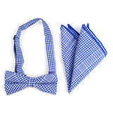 Accessory - Blue Plaid Bow Tie/Hankerchief Set