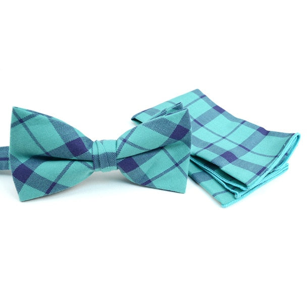 Accessory - Turquoise Plaid Bow Tie/Hankerchief Set