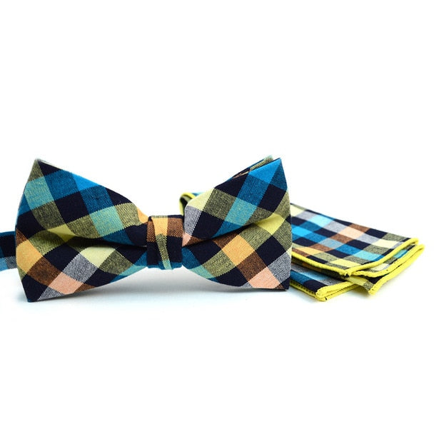 Accessory - Multi-Color Plaid Bow Tie/Hankerchief Set