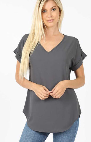 Top - Dobby Short Cuffed Sleeves V-Neck Top