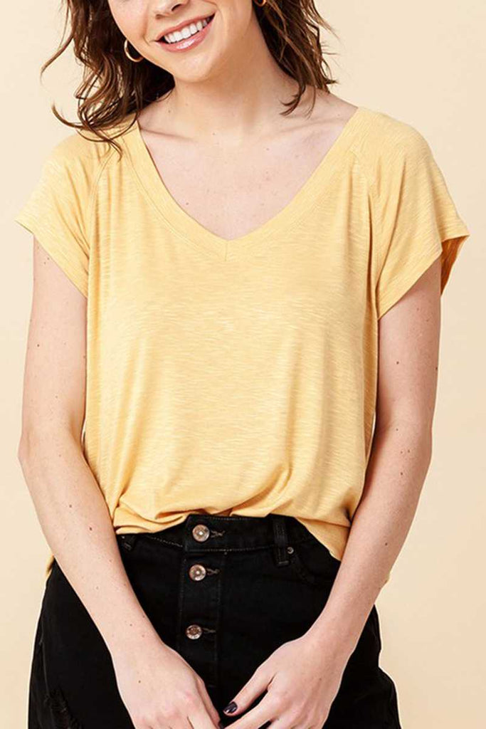 Top - V-Neck Raglan Short Sleeve Round Hem Top