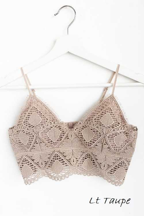 Accessory - V-Neck Crochet Lace Bralette
