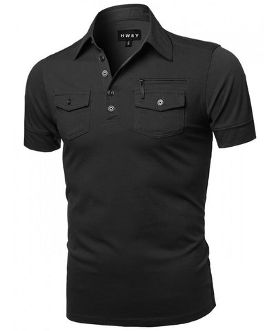 Top - Solid Zipper Detail Polo Shirt
