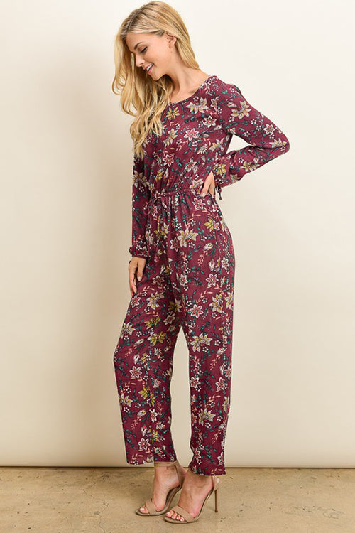 Jumpsuit - Floral Long Sleeve Jumpsuit