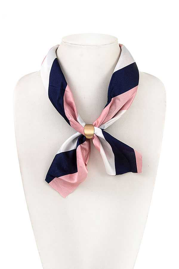 Scarf - Silk Striped Necklace Scarf