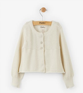 Top - Hatley Kids Pointelle Waves Glitter Cardigan
