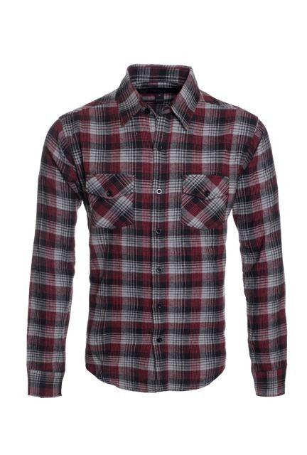 Top - Long Sleeve Plaid Flannel Shirt