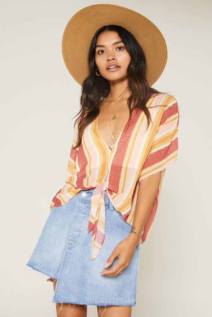 Top - Sage The Label Kiss The Sun Tie Front Top