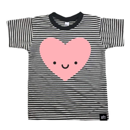 Top - Whistle & Flute Kids Kawaii Heart Striped Tee
