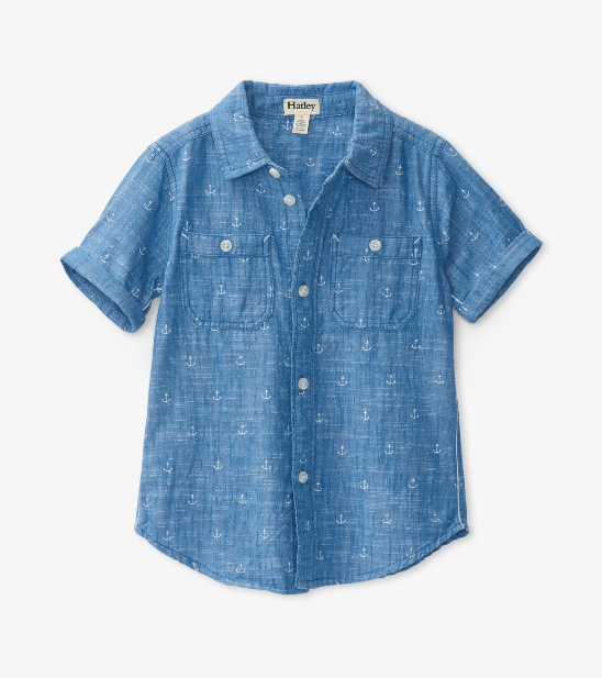 Top - Hatley Kids Chambray Anchors Button Down Shirt