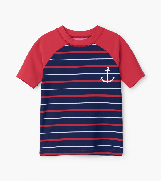 Swimsuit - Hatley Kids Nautical Stripe Short Sleeve Rashguard