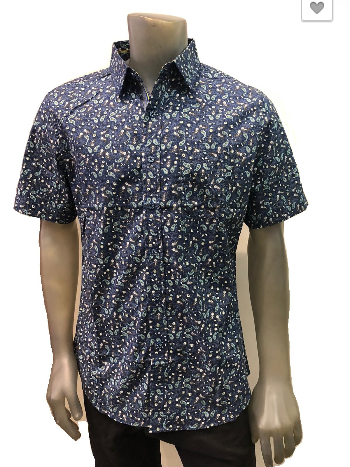 Top - Short Sleeve Paisley Button Down Shirt