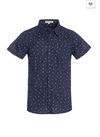 Top - Short Sleeve Print Button Down Shirt