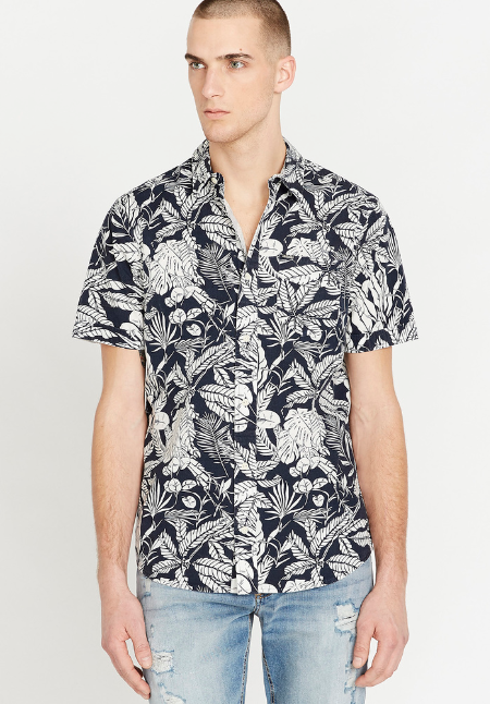 Top - Buffalo Sajat Tropical Button Down Shirt