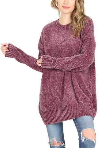 Top - Round Neck Chenille Sweater