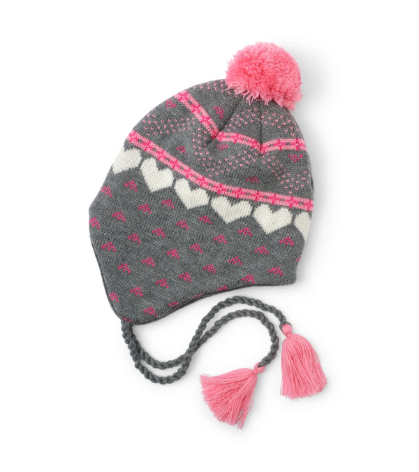 Accessory - Hatley Kids Winter Hearts Fleece Lined Trapper Hat