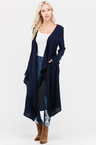 Top -  Solid Rolled Up Sleeve Long Cardigan With Pocket