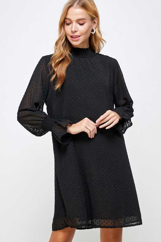 Dress - Smocked Neck And Sleeve Textured A-Line Dress