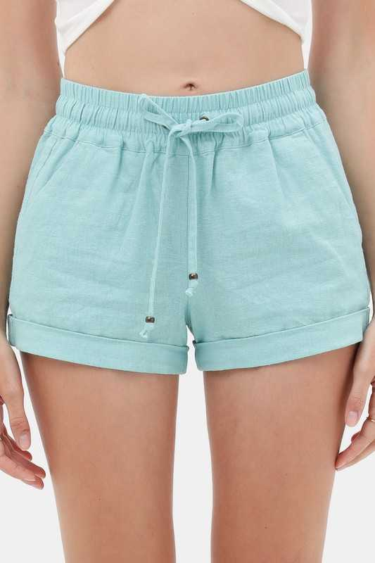 Shorts - Solid Elastic Waist Pocket Detail Shorts
