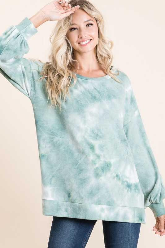 Top - Tie Dye Brushed Sweater Knit Top