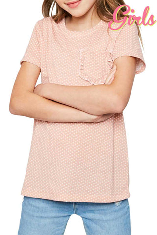 Top - Kids Polka Dot Short Sleeve Top With Ruffled Chest Pocket
