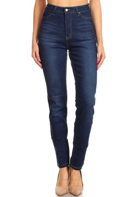 Pants - Basic High Waist Washed Denim Jeans