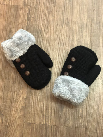 Accessory - Kids Button Detail Mittens